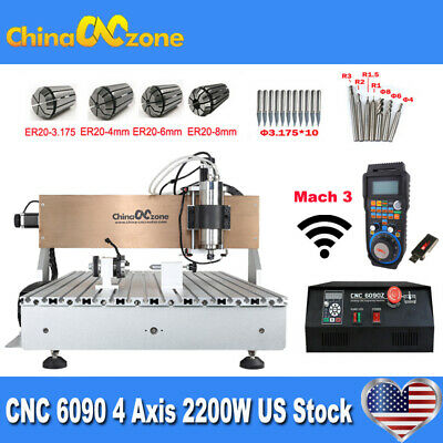 $2599 • Buy CNC 6090 4axis 2200W Milling Engraver Machine Mach 3 USB CNC DIY Router US Stock