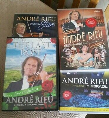 FOUR Andre Rieu DVD's ~ Last Rose, Under The Stars, Schonbrunn Vienna, Brazil • 5.25£