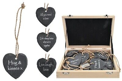 £2.99 • Buy 6cm Slate Hanging Heart Gift With Meaningful Sayings Love Kisses Moon Life
