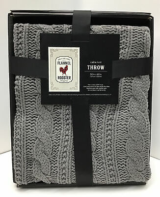 £34.78 • Buy Cable Knit Throw Blanket , In Gray, One Size 50 X60