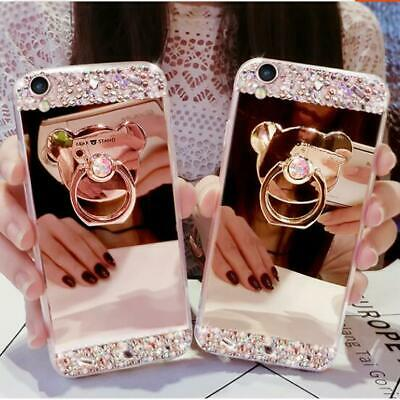 Ring Holder Mirror Soft Diamond Phone Cases With Screen Protector Film For Apple • 9.99£