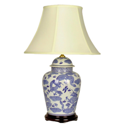 Pair Oriental Chinese Ceramic Porcelain Blue And White Dragon Table Lamp • 265£