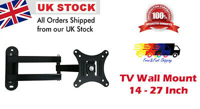Swing Arm TV Wall Mount Bracket  For Led LCD TV Monitor Screen 14  To 27  UK NEW • 5.99£