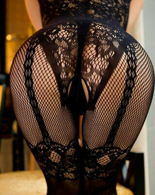 £5.99 • Buy Sexy Body Stocking Plus Size 6-24 Fishnet Lingerie Floral Crotchless Bodysuit