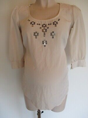 Gap Maternity Ivory Sequin Blouse Tunic Top Size Xs Uk 8 • 0.99£
