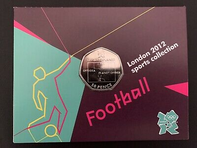 London 2012 Olympic FOOTBALL 50p Coin Brand New Uncirculated Sealed On Card. • 35£