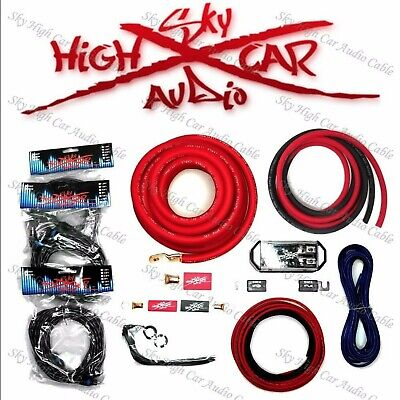 $64.99 • Buy Sky High Car Audio Red 1/0 AWG To Dual 4 Gauge Complete Amp Kit SHIPS FROM OHIO