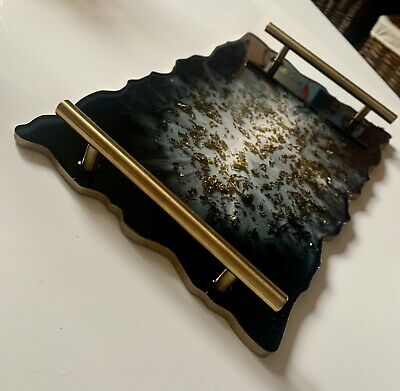 £30 • Buy Handmade Resin Decorative Tray Black And Gold Display Perfume Made To Order Gift