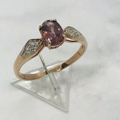 £120 • Buy 9ct Rose Gold Diamond & Pink Tourmaline Ring Size S 2.05 Grams In New Ring Boxed