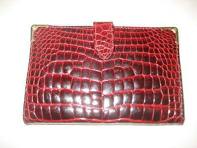 $188 • Buy AUTH. Vtg Gucci Red Crocodile Wallet Coin Purse