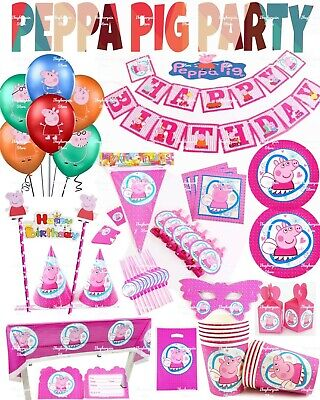 PEPPA PIG Happy Birthday Party Supplies Tableware Decorations Balloons Banners • 4.49£