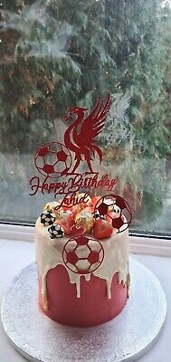 Personalised Liverpool FC Unofficial Football Glitter Birthday Cake Topper • 8.50£