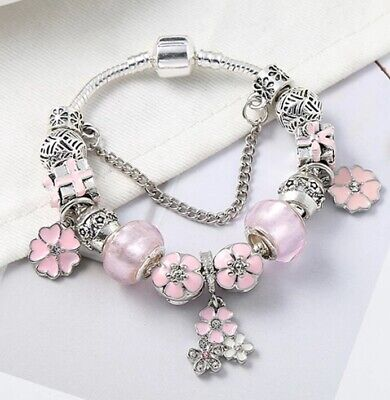 AU25 • Buy Pink Silver Plated Crystal Charm Bracelet By Pandora's Queen