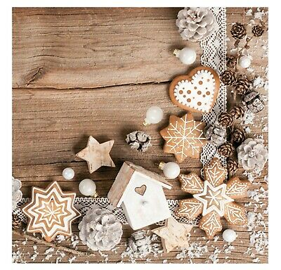 £4.49 • Buy Napkins For Decoupage Christmas Decorations Biscuits Craft 33x33cm 3PLY 20 Pack