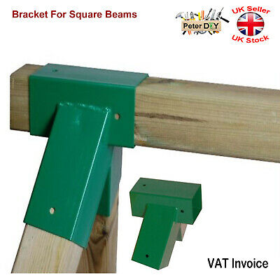 GREEN BRACKET FOR SQUARE BEAMS Swing Climbing Frame Playhouse Wooden Beam91x91mm • 29.47£