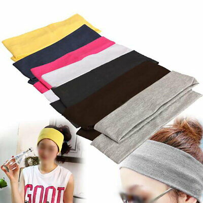 £3.11 • Buy Men's / Women's Solid Sweat Cotton Elastic Headband Wide High Stretch Hair Band