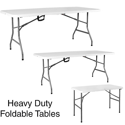 £40.95 • Buy 4ft 5ft & 6ft Camping Catering Heavy Duty Portable Foldable Big Table Picnic BBQ