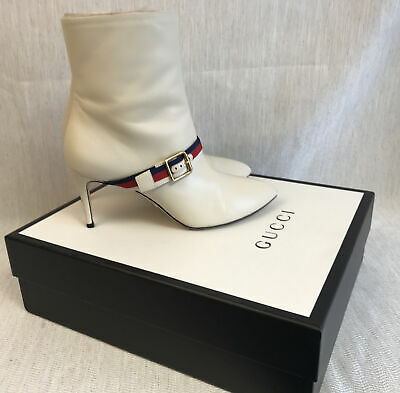 Gucci Women Sylvie Cream Leather Ankle Boots Size 39 • 325£
