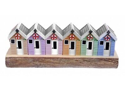 £10.95 • Buy Row Of Beach Huts Seaside Coastal Home Decor Ornament Standing On A Wooden Block