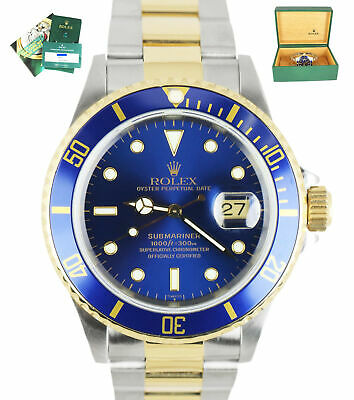 $ CDN13343.96 • Buy 2020 ROLEX SERVICE Submariner SWISS ONLY Date Blue 16613 Two-Tone 18K Gold 1999