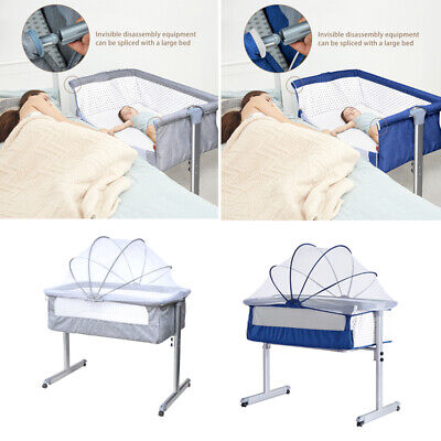 Side Sleeping Bedside Crib Baby Crib Cot Bed With Mattress Mosquito Net Wheels • 75.99£