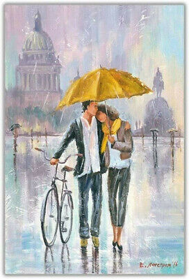£19.99 • Buy Romantic-Couple Bicycle Holding Yellow Umbrella Canvas 20X30 Inches Wall Art