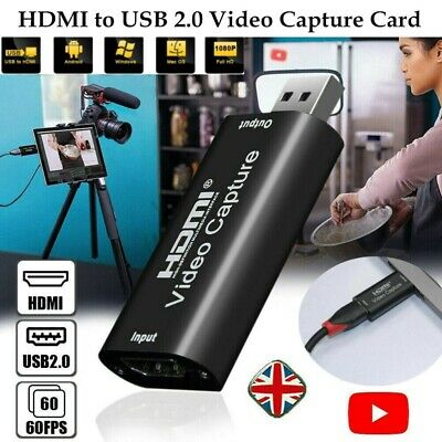 HDMI To USB 2.0 Video Capture Card HD 1080P Recorder For Game Live Streaming UK • 9.66£