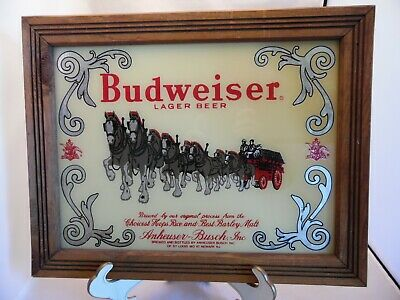$ CDN90.09 • Buy Vintage Budweiser Beer Clydesdale Reverse Painted Glass Beer Advertising Sign