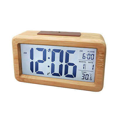 Digital Alarm Clock, Wooden Time Display Battery Operated Electronic Clocks • 14.11£