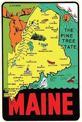 $3.99 • Buy Maine State Map   Vintage 1950's Style  Travel Decal Sticker Label