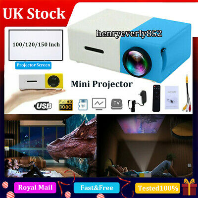 YG300 1080P Home Theater Cinema USB HDMI AV SD Mini Portable HD LED Projector UK • 26.99£