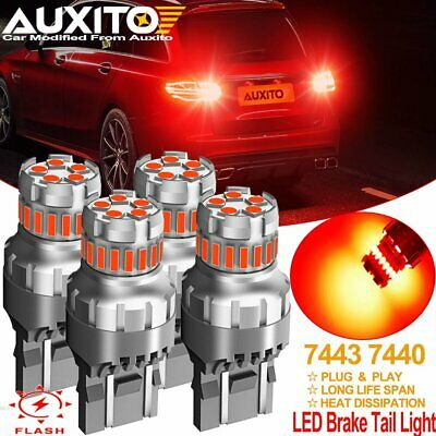 $21.99 • Buy 4X 7440 7443 RED Flash Strobe Blinking Brake Tail Stop Light LED Bulb For Honda