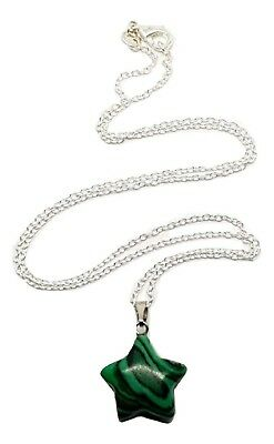 Malachite Star Gemstone Pendant Hand Shaped & Silver Chain Necklace • 4.98£