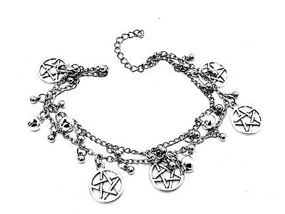 £9.95 • Buy Pentacle Bracelet Double Chain Bead Bells Ankle Bracelet Pagan Wiccan Charms X 1