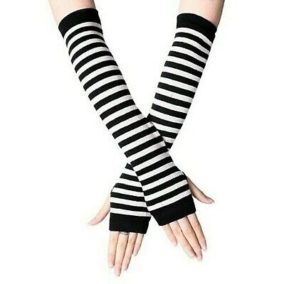 £3.75 • Buy Fingerless Thumb Gloves Arm Warmers Striped Ladies Women Mitten Black And White