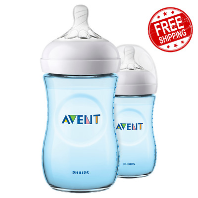 AU27.74 • Buy Philips Avent Natural Wide-Neck Bottles Blue Breast-Shaped Teat 1m+ 2x 260ml