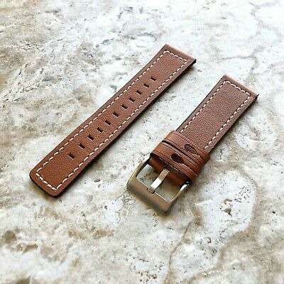 $ CDN32.77 • Buy Brown Soft Leather Band Strap With White Stitches For Fitbit Versa 3 And Sense
