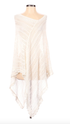 £13.89 • Buy New Directions One Size Women's White Open Knit Poncho Cape Swim Cover Up NWT