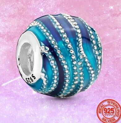 AU26 • Buy 925 Sterling Silver Blue Wave Charm By Pandora's Queen