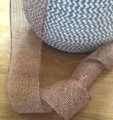 """Christmas Wired Ribbon ~ Rose Gold Glittery Mesh ~ 6.3cm/2.5"""" Wide ~ Crafts • 1.80£"""