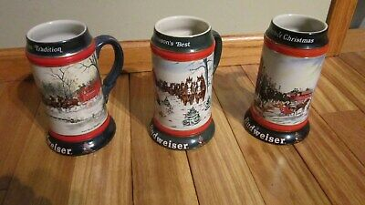 $ CDN67.49 • Buy Lot1990,92,93 Budweiser Stein Holiday Budweiser Clydesdales Steins