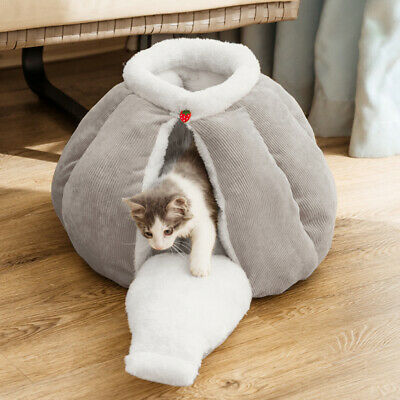 £11.99 • Buy Thick Soft Pet Igloo Bed Warm Snug House Cat Dog Puppy Kitten Sleeping Cave Grey