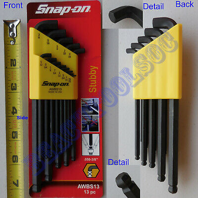 $ CDN63.29 • Buy New Snap On 13 Pcs L-Shape Stubby Ball Hex Wrench Set .050 - 3/8  AWBS13 Yellow
