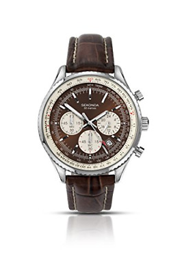 Sekonda Men's Quartz Watch With Brown Dial Chronograph Display And Brown Leather • 54.99£