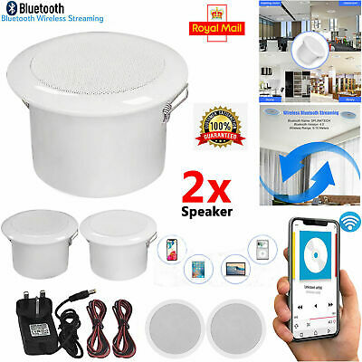 Ceiling Speakers Bluetooth Wireless 30W And Amplifier System Kitchen Or Bathroom • 26.99£
