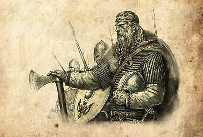 £7.95 • Buy Framed Print - Viking Warriors Vintage Style Pencil Sketch (Picture Poster Art)
