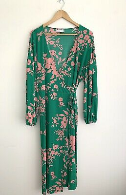 AU40 • Buy Asos Design Curve 20 Green And Pink Floral Tie Wrap Midi Dress Party Wedding