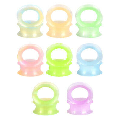 $4.99 • Buy 2PCS Soft Glow In The Dark Silicone Ear Gauges Pearlized Flesh Tunnels Plugs