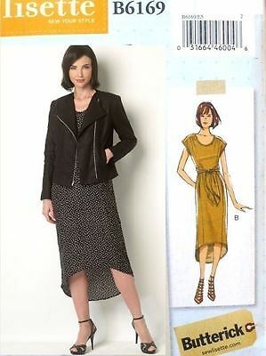 BUTTERICK B6169 LISETTE Miss Moto Jacket And High-Low Hem Dress PATTERN SZ 6-22 • 7.23£