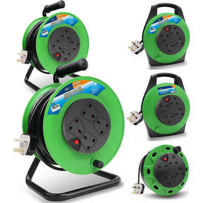 Extension Cable Reel 13Amp 4 Sockets Garden Tools Light 5/10/15/25/50m Cable • 12.39£